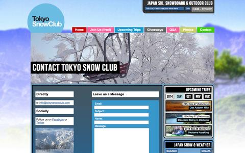 Screenshot of Contact Page tokyosnowclub.com - Tokyo Snow Club Contact | Japan Snowboard and Ski Club - captured Sept. 23, 2014