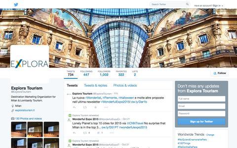 Screenshot of Twitter Page twitter.com - Explora Tourism (@ExploraTourism) | Twitter - captured Oct. 23, 2014