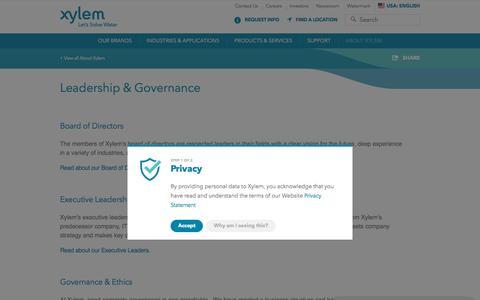 Screenshot of Team Page xylem.com - Leadership & Governance | Xylem US - captured May 24, 2018