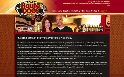 Screenshot of About Page hautedogsandfries.com - About Us | Haute Dogs & Fries | The Best Hot Dogs In Virginia | Purcellville & Alexandria Restaurants - captured Jan. 27, 2016