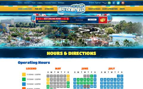 Screenshot of Hours Page waterworldcalifornia.com - Waterworld California | Hours and Directions - captured Aug. 17, 2016