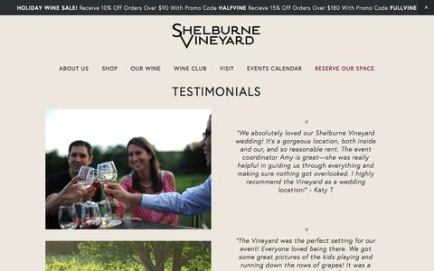 Screenshot of Testimonials Page shelburnevineyard.com - Shelburne VineyardTestimonials - captured Dec. 8, 2016