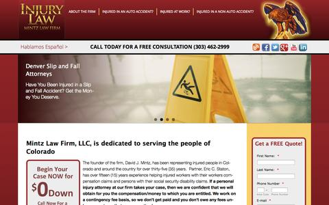 Screenshot of Home Page 4injury.net - Mintz Law - Represents you in Personal Injury Worker's Compensation - captured Oct. 7, 2014