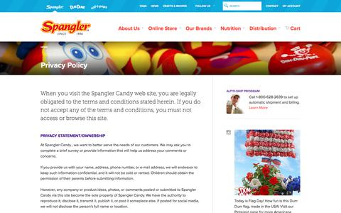 Screenshot of Privacy Page spanglercandy.com - Privacy Policy | Spangler Candy - captured June 15, 2017