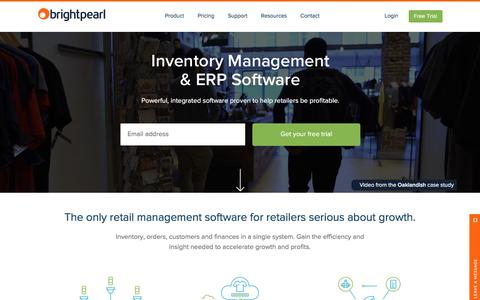 Screenshot of Home Page brightpearl.com - Inventory Management & ERP Software | Brightpearl - captured Feb. 1, 2016