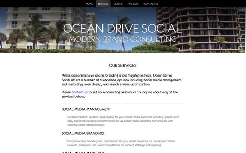 Screenshot of Services Page oceandrivesocial.com - Social Media and Online Management @ Ocean Drive Social - captured Nov. 5, 2014