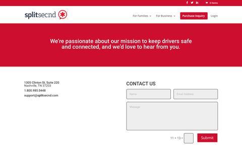 Screenshot of Contact Page splitsecnd.com - Contact - splitsecnd - captured July 13, 2018
