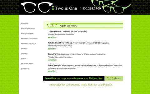 Screenshot of Press Page cctwoisone.com - Cc: In the News | CC Two Is One - captured Sept. 29, 2014
