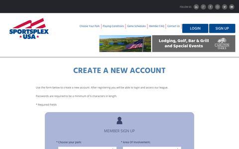 Screenshot of Signup Page sportsplexusa.com - Welcome to SportsPlex - Homepage - captured Dec. 11, 2018