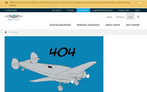 Screenshot of FAQ Page aopa.org - 404 Error - AOPA Insurance - captured Nov. 24, 2016