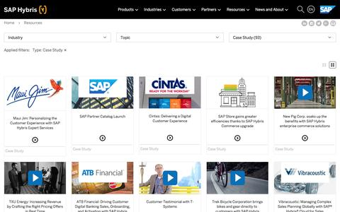 Screenshot of Case Studies Page hybris.com - E-Commerce Library, Whitepapers, Studies and webinars from hybris | SAP Hybris - captured May 29, 2017