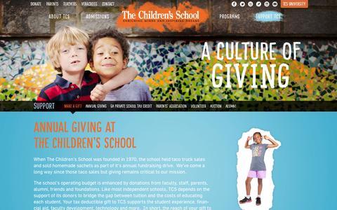 Screenshot of Support Page thechildrensschool.com - Support TCS - The Children's School - captured Oct. 29, 2014