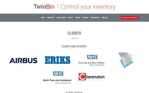 Screenshot of Case Studies Page twinbin.com - Clients - Twin Bin - captured Dec. 16, 2018