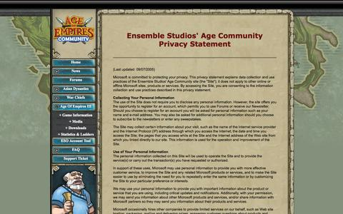 Screenshot of Privacy Page ensemblestudios.com - Ensemble Studios: Age of Empires III: Privacy Policy - captured Sept. 30, 2014