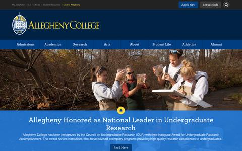 Screenshot of Home Page allegheny.edu - Allegheny College – Meadville, PA | The national liberal arts college where 2,100 students with unusual combinations of interests, skills and talents excel. - captured Jan. 17, 2016