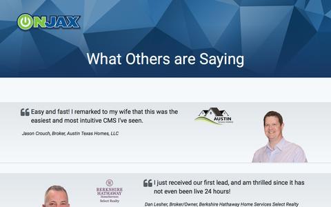 Screenshot of Testimonials Page onjax.com - Onjax Real Estate Technology - captured Feb. 27, 2016