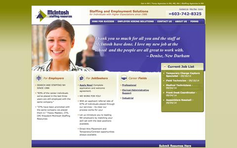 Screenshot of Home Page mcintoshstaffing.com - Staffing Agencies in NH | Job in NH | Temp Agencies in NH, ME, MA - captured Oct. 6, 2014