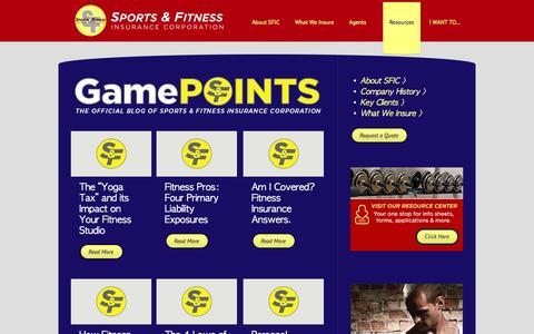 Screenshot of Press Page sportsfitness.com - Sports Fitness Insurance Corporation  |  GamePOINTS Blog - captured Oct. 6, 2014