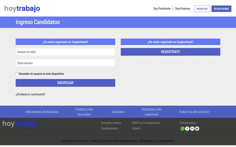 Screenshot of Login Page hoytrabajo.com.ar - EmpleoRank - captured July 23, 2018