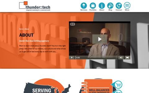 Screenshot of About Page thundertech.com - About our Integrated Marketing Agency | thunder::tech - captured Feb. 23, 2016