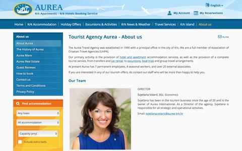 Screenshot of About Page aurea-krk.com - Tourist Agency Krk - AUREA Travel Agency - Krk Croatia - captured June 22, 2017