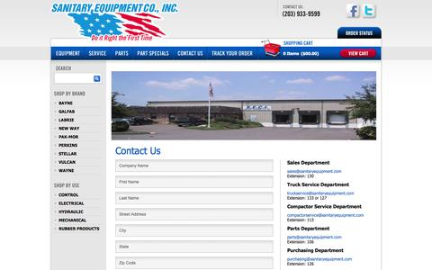 Screenshot of Contact Page sanitaryequipment.com - Contact Us - captured Oct. 4, 2014