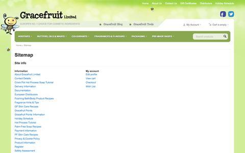 Screenshot of Site Map Page gracefruit.com - Sitemap - UK Soap Making Supplies & Fragrances - captured Sept. 23, 2014
