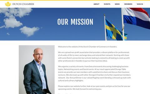 Screenshot of About Page dutchchamber.se - Our Mission - Dutch Chamber of Commerce in Sweden - captured Nov. 24, 2016
