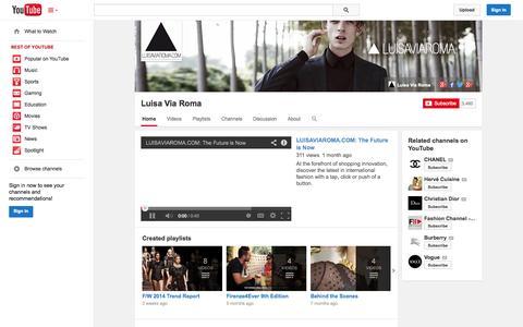 Screenshot of YouTube Page youtube.com - Luisa Via Roma  - YouTube - captured Oct. 22, 2014