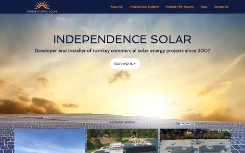 Screenshot of Home Page independencesolar.com - Independence Solar - Independence Solar | Developer and Installer of Turnkey Commercial Solar Energy Projects - captured Sept. 13, 2018