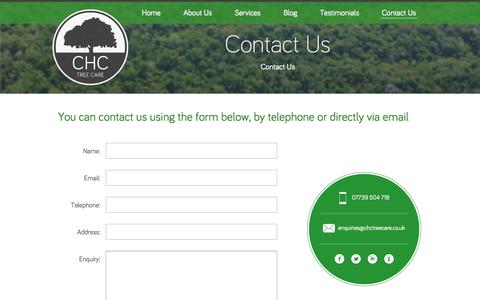 Screenshot of Contact Page chctreecare.co.uk - CHC Tree Care - Contact us for a free, competitive tree work quote - captured Sept. 26, 2014