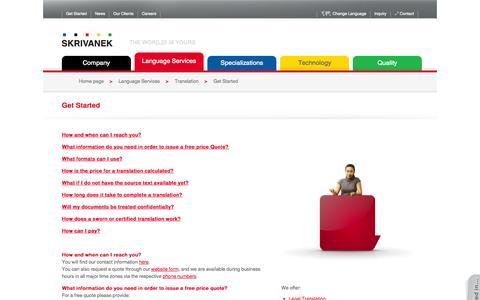 Screenshot of FAQ Page skrivanek.com - Get Started  | SKRIVANEK - captured Oct. 4, 2014