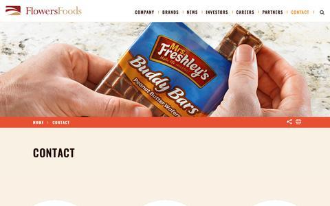 Screenshot of Contact Page flowersfoods.com - Contact – Flowers Foods - captured Oct. 10, 2018