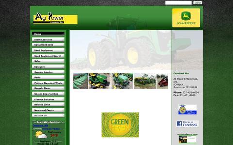 Screenshot of Home Page agpowerjd.com - Ag Power Enterprises - Home - Ag Power Enterprises Inc. - 1-507-451-4054 - Belle Plaine | Hollandale | Owatonna - captured Jan. 23, 2015
