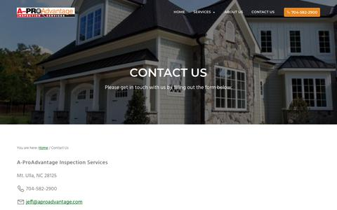 Screenshot of Contact Page aproadvantage.com - Contact Us near Mt. Ulla | A-ProAdvantage Inspection Services - captured Sept. 30, 2018