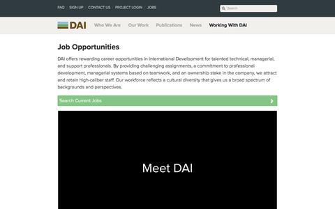 Screenshot of Jobs Page dai.com - Job Opportunities · DAI: International Development Jobs - captured Feb. 17, 2018