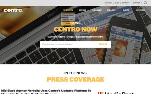 Screenshot of Press Page centro.net - News - Digital Advertising Planning and Buying - captured July 12, 2017