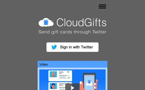 Screenshot of Home Page cloudgifts.com - CloudGifts | Simple social gifting over Twitter - captured Jan. 23, 2015