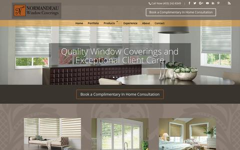 Screenshot of Home Page normandeauwc.com - Home - Normandeau Window Coverings - captured Oct. 22, 2017