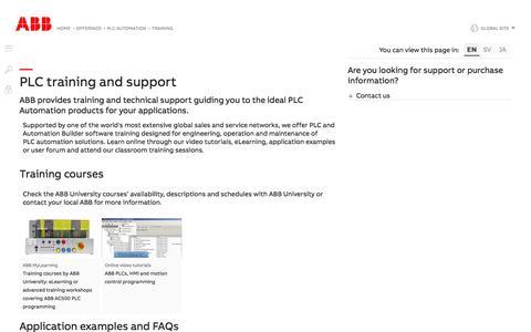 Screenshot of Support Page abb.com - PLC training   ABB - captured Nov. 9, 2019