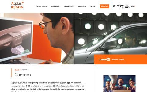 Screenshot of Jobs Page applusidiada.com - Career at IDIADA - captured Dec. 15, 2019