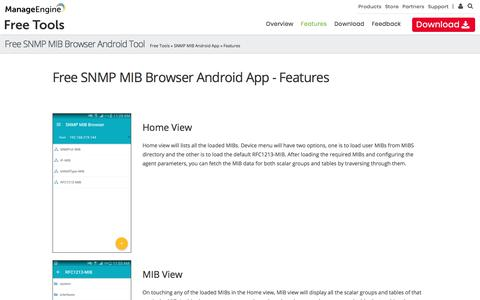 Free ManageEngine SNMP Android App - Features