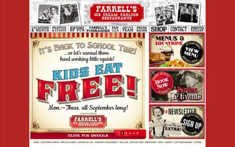 Screenshot of Home Page farrellsusa.com - Farrell's Ice Cream Parlour Restaurants - captured Sept. 19, 2014