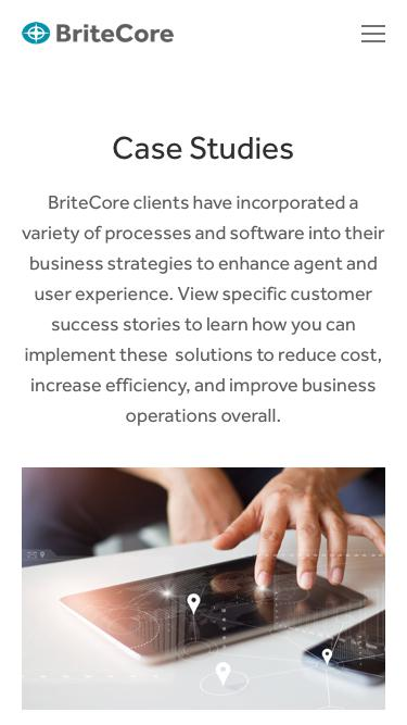 Screenshot of Case Studies Page  britecore.com - Case Studies — BriteCore