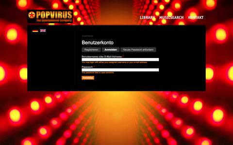 Screenshot of Login Page popvirus.de - Benutzerkonto | Popvirus Entertainment Pool GmbH - captured Sept. 25, 2018