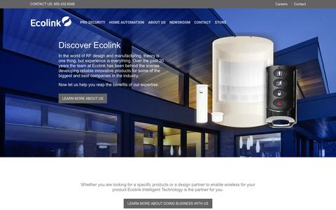 Screenshot of Home Page discoverecolink.com - Ecolink Intelligent Technology | 855-432-6546 - captured Jan. 25, 2016