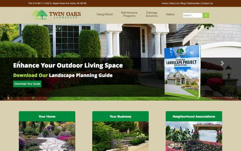 Screenshot of Home Page twinoakslandscape.biz - Landscaping, Mowing and Lawn Care Services in Ann Arbor MI - captured Oct. 21, 2016