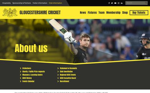 Screenshot of About Page gloscricket.co.uk - About us | Gloucestershire Cricket - captured Sept. 23, 2018