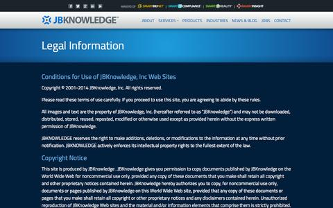 Screenshot of Terms Page jbknowledge.com - Legal Information - JBKnowledge JBKnowledge - captured Oct. 3, 2014