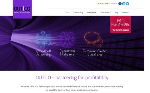 Screenshot of Home Page outico.com - Outico – partnering for profitibility - captured Oct. 6, 2014